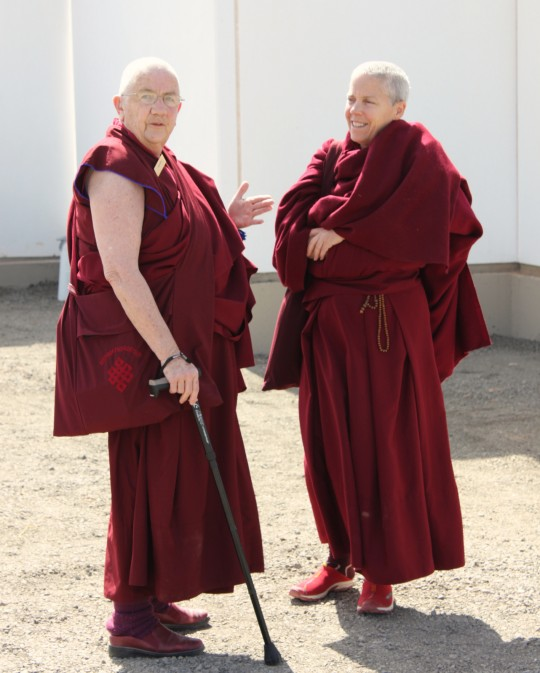 Ven. Chonyi Taylor and Ven. Joan Nicell outside of the Great Stupa of Universal Compassion, Australia, September 14, 2014. Photo by Laura Miller.