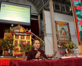 Director of FPMT Education Services Tom Truty speaking at the CPMT 2014, Great Stupa of Universal Compassion, Australia, September 14. Photo by Laura Miller.