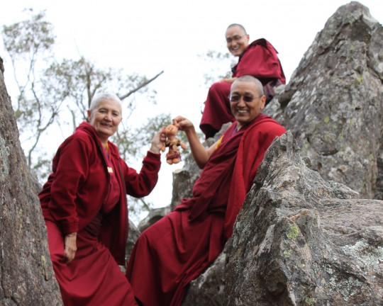 Khen Rinpoche Geshe Chonyi, Ven. Paloma Alba, Ven. Sherab and Teddy Tulku on top of Hanging Rock, Victoria, September 15, 2014. Photo by Laura Miller.