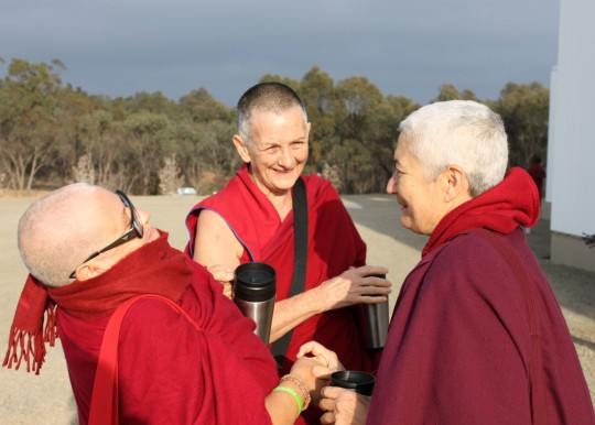 Vens. Sisilia, Trish and Paloma outside the Great Stupa of Universal Compassion, Australia, September 16, 2014. Photo by Laura Miller.