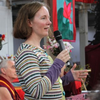Linda Gyatso speaking on Day 4 at CPMT 2014, Great Stupa of Universal Compassion, Australia, September 16, 2014. Photo by Laura Miller.