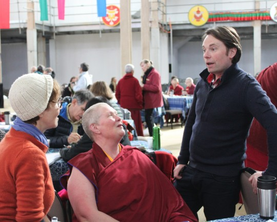 Wendy Cook, Ven. Lindy, Matthe Poxon during tea break on Day 4 at the Great Stupa of Universal Compassion, Australia, September 16, 2014. Photo by Laura Miller.