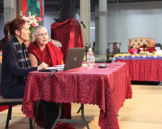 Ven. Chantal Carrerot and Drolkar McCallum leading a presentation on International Mahayan Institute with Lama Zopa Rinpoche listening on CPMT 2014 Day 4, Great Stupa of Universal Compassion, Australia, September 2014. Photo by Laura Miller.