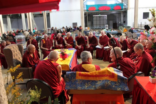 Sangha meeting at CPMT 2014 Day 4, Great Stupa of Universal Compassion, Australia, September 16, 2014. Photo by Laura Miller.