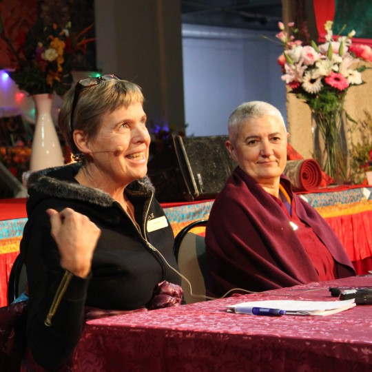 Ven. Paloma and Gun Cissé sharing their stories of meeting the Dharma, Day 4 CPMT 2014, Australia, September 16, 2014. Photo by Laura Miller.