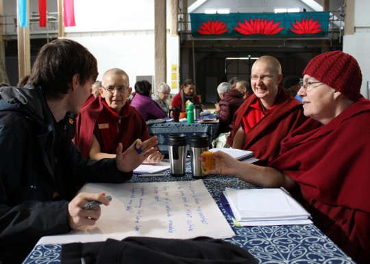 Robert Schwabe, Vens. Tenzin Tsapel, Tenzin Kunphen and Chantal Carrerot, CPMT 2014, Great Stupa of Universal Compassion, Australia, September 2014. Photo by Laura Miller.