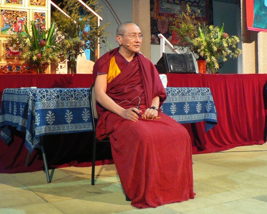 Khen Rinpoche Geshe Chonyi speaking at CPMT 2014, Australia. Photo by Laura Miller.