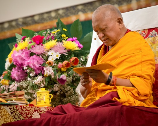 Lama Zopa Rinpoche teaching at Light of the Path Retreat, North Carolina, US, May 2014. Photo by Roy Harvey.