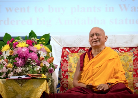 Lama Zopa Rinpoche at Light of the Path retreat, May 2014. Photo by Roy Harvey.