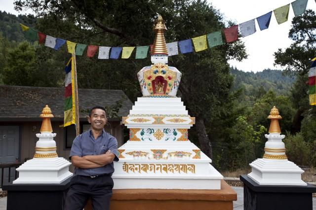 Gelek Sherpa painted Lama Yeshe's cremation stupa, Vajrapani Institute, Boulder Creek, California. Photo via vajrapani.org.