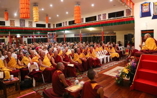 Lama Zopa Rinpoche giving teaching to Sangha and lay students at Chenrezig Institute, Eudlo, Australia, September 2014. Photo by Ven. Roger Kunsang.