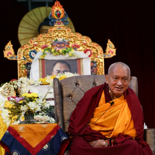 Lama Zopa Rinpoche during public talk at Great Stupa of Universal Compassion, Australia, September 20, 2014. Photo by Ven. Thubten Kunsang.