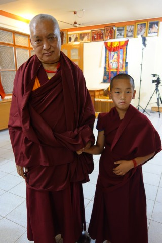 Lama Zopa Rinpoche with the incarnation of Ribur Rinpoche, Sera Je Monastery, India, Jan 2014.  Photo by Ven Roger Kunsang