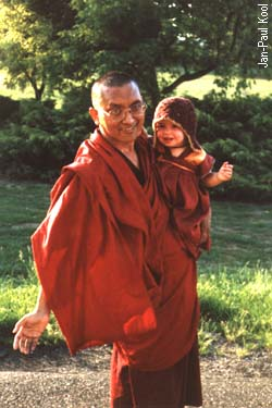 Lama Zopa and Osel, Holland. 1986