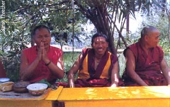 With Geshe Jampa Gyatso and Geshe Jampa Wangdu, Tushita, Dharamsala, 1983.