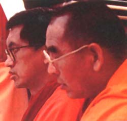 Geshe Sopa and Lama Zopa Rinpoche at cermonies for Lama Yeshe.