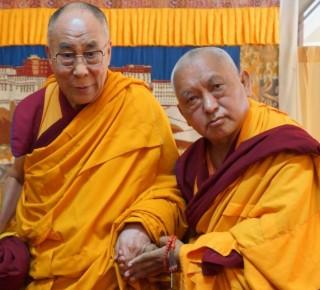 Lama Zopa Rinpoche with His Holiness the Dalai Lama. South India, January 2014. Photo courtesy of the Office of His Holiness the Dalai Lama.