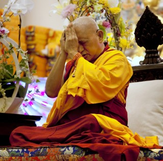 Amitabha Buddhist Centre offered a long life puja to Rinpoche during his visit, Singapore, March 8, 2013. Photo by Stephen Ching.