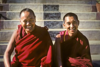Lama Yeshe and Lama Zopa Rinpoche, Kopan Monastery, 1980. Photo by Robin Bath.